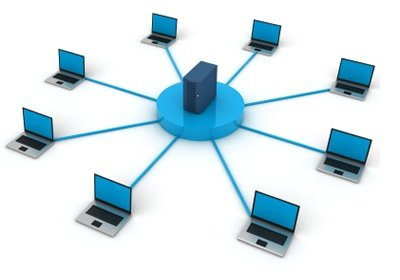 Computers networked to a server